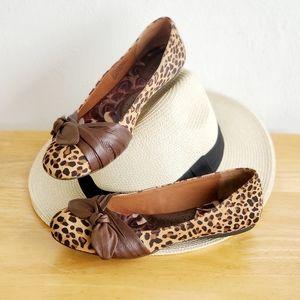 Born Genuine Leather Leopard Print Flat Shoes